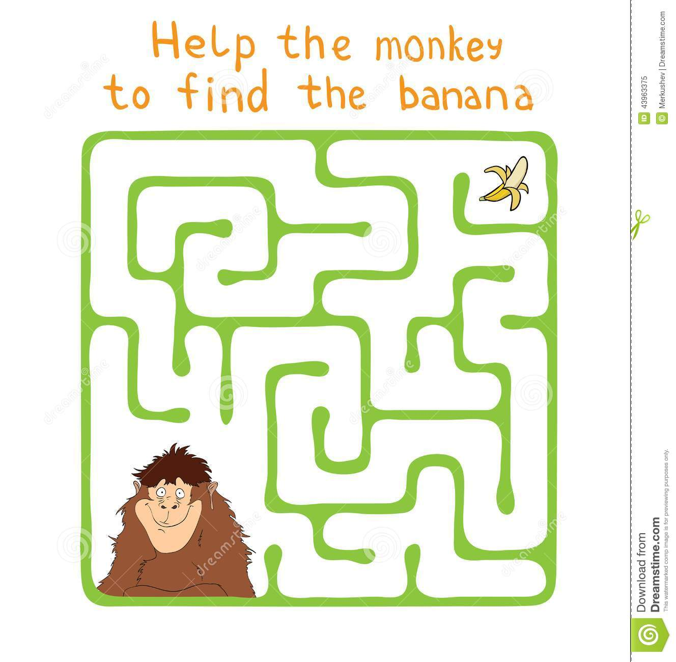 Vector Maze Labyrinth With Monkey And Banana Stock