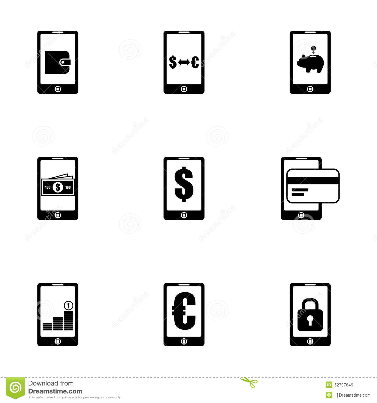 Vector Mobile Banking Icon Set Stock Vector