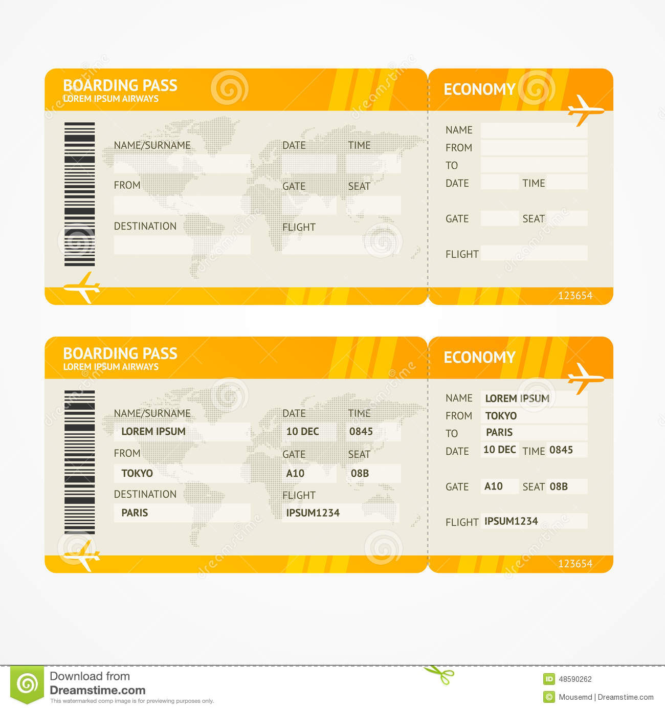 Vector Modern Airline Boarding Pass Tickets Stock Vector Illustration Of Gate Aeroplane 48590262