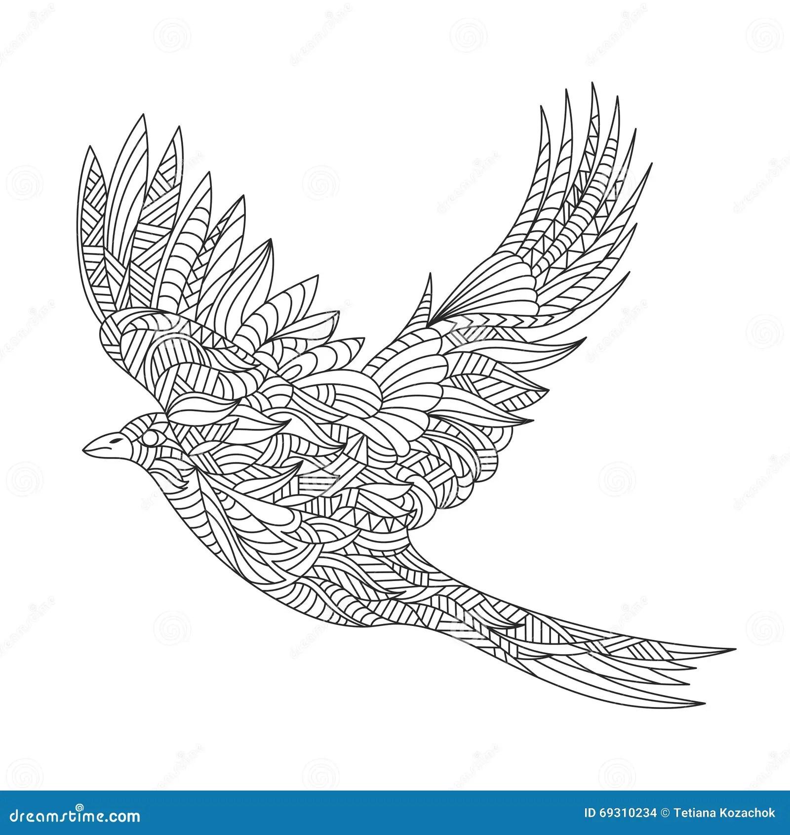 Vector Monochrome Hand Drawn Zentagle Illustration Of