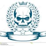 Vector Monochrome Tattoo Or Logo With Skull Crown Laurel Wreath And Ribbon Stock Vector Illustration Of Anger Insignia 74481861
