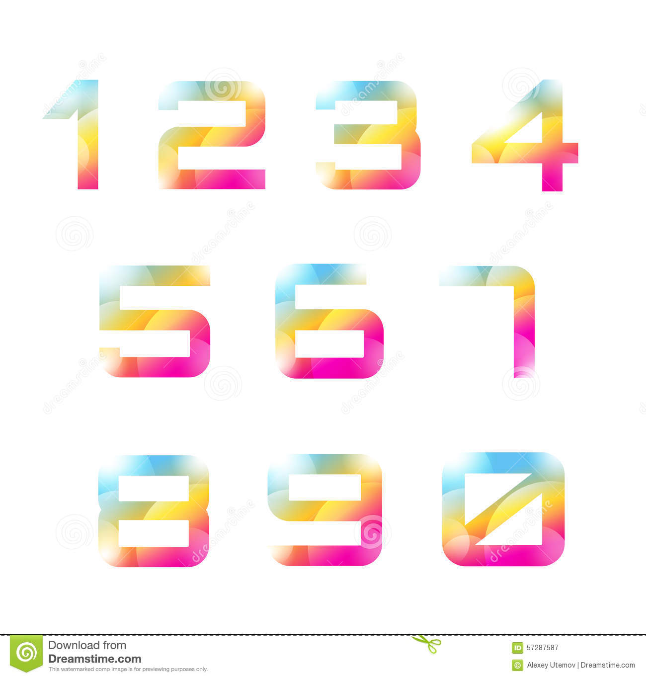 Vector 1 10 Numbers Font Template Count Letters Stock