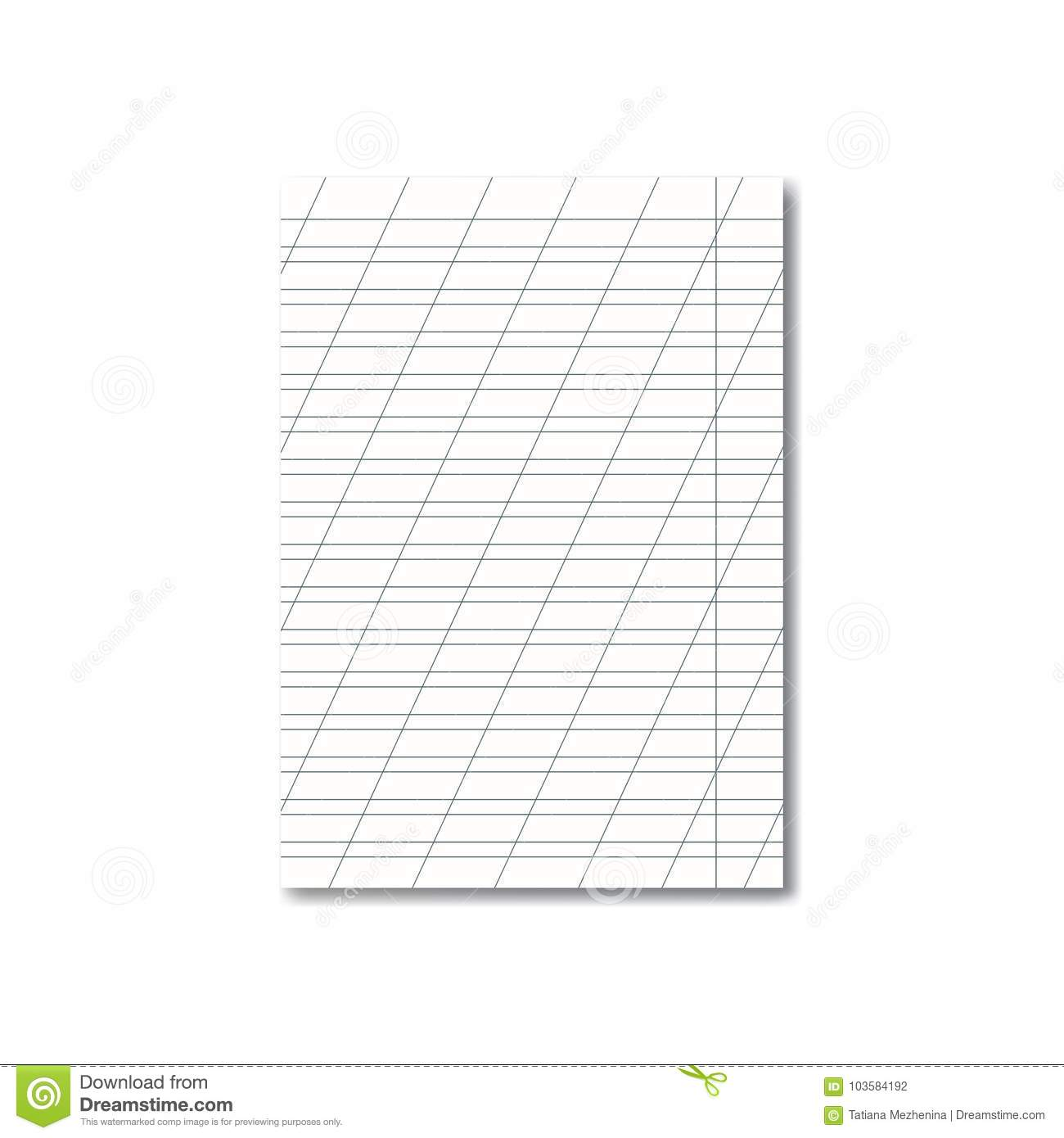 Vector Opened School Cursive Worksheet With Shadow Stock