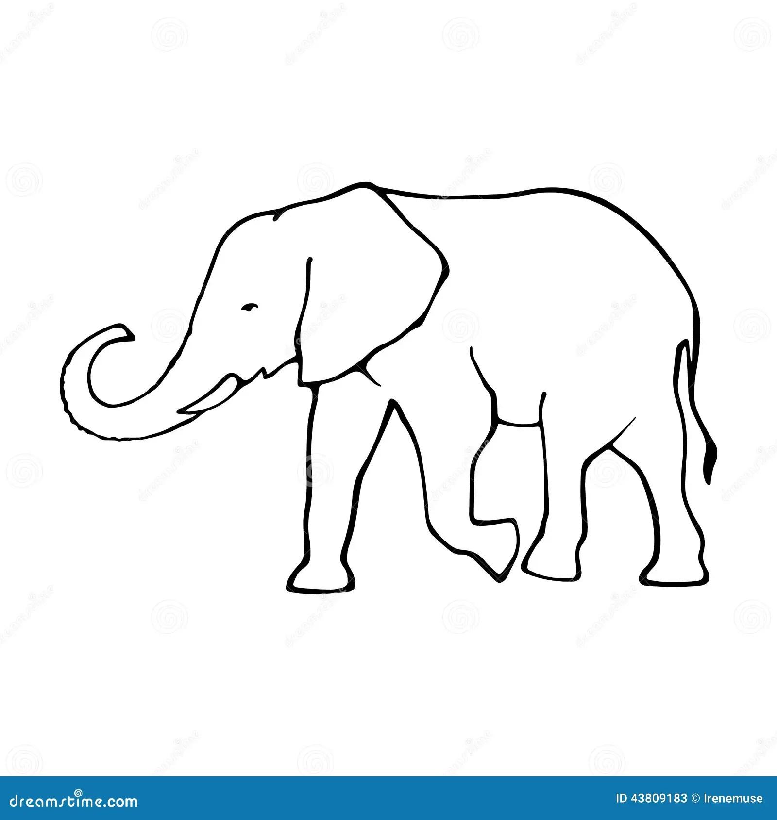Vector Outline Elephant Illustrarion Stock Vector
