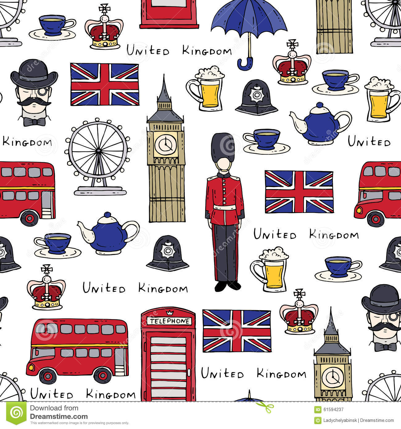 Vector Pattern On The Theme Of United Kingdom Stock