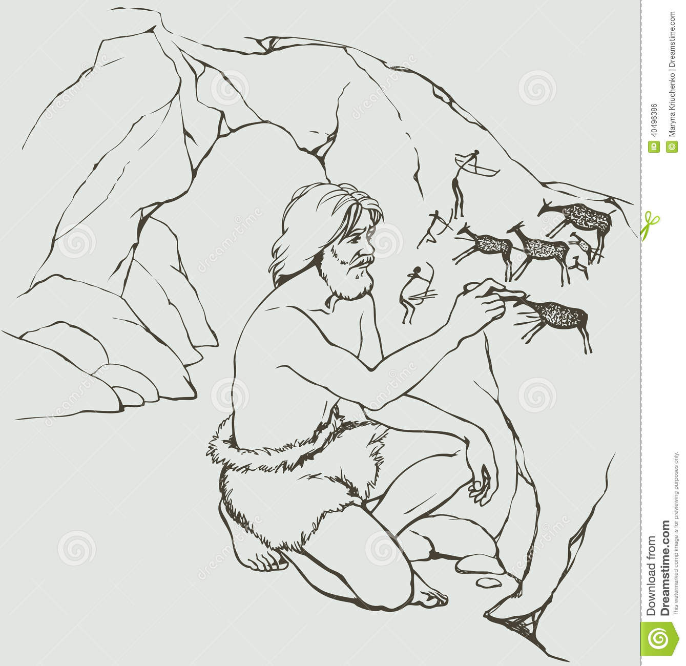 Vector Picture Primitive Man Draws On Stone Wall Of Cave
