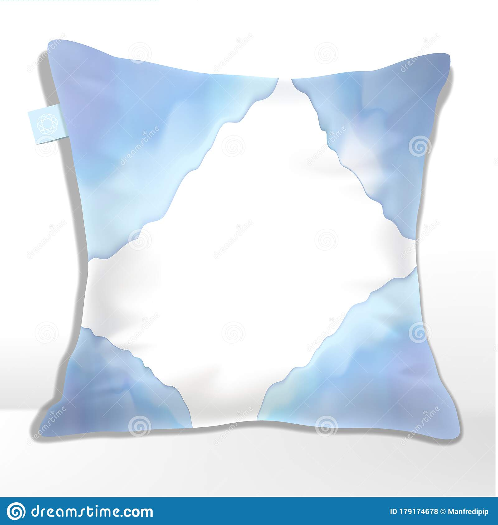 vector pillow or cushion cover mockup with blue watercolor wave pattern stock vector illustration of polyester comfort 179174678