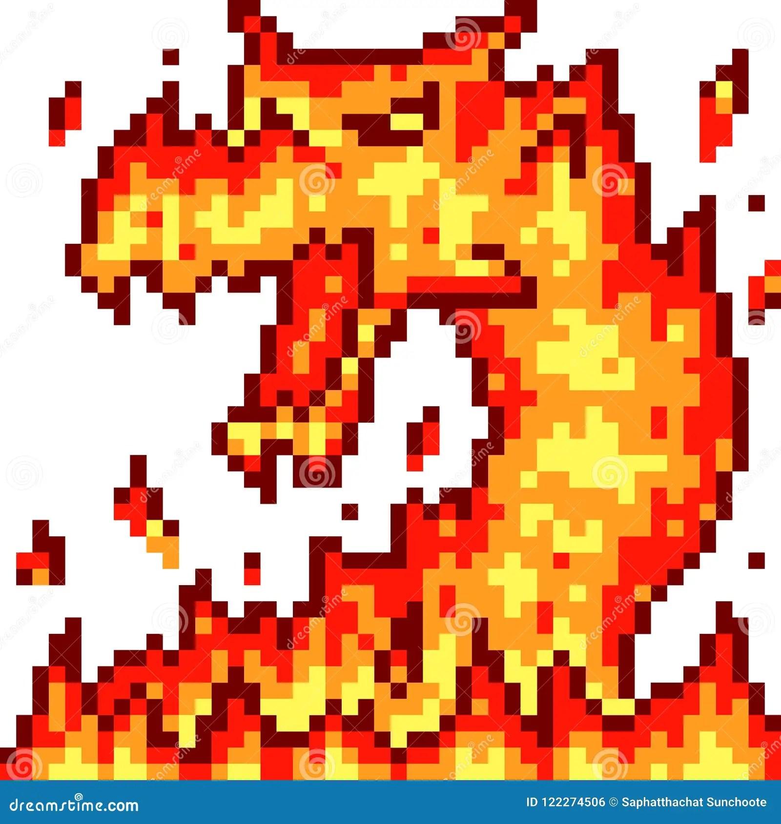 Vector Pixel Art Fire Dragon Stock Vector Illustration Of Fire Dragon 122274506
