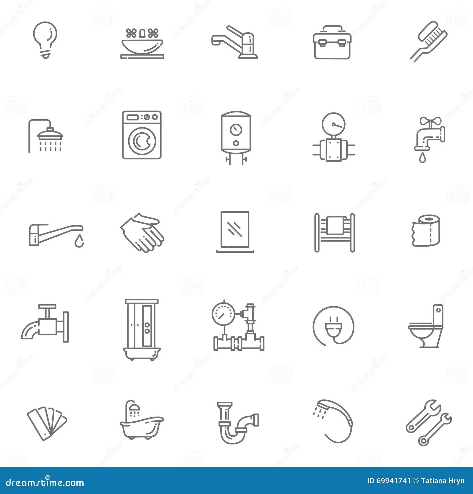 Vector Plumbing Outline Icons Set Stock Vector