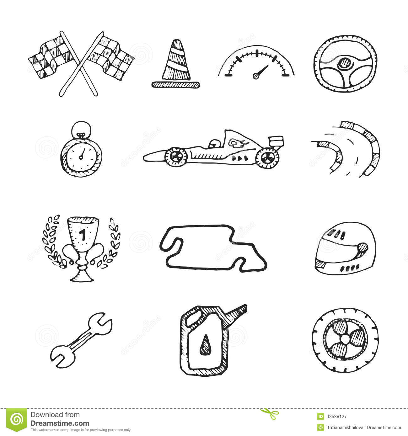 Vector Racing Icons In A Drawing Style Stock Vector