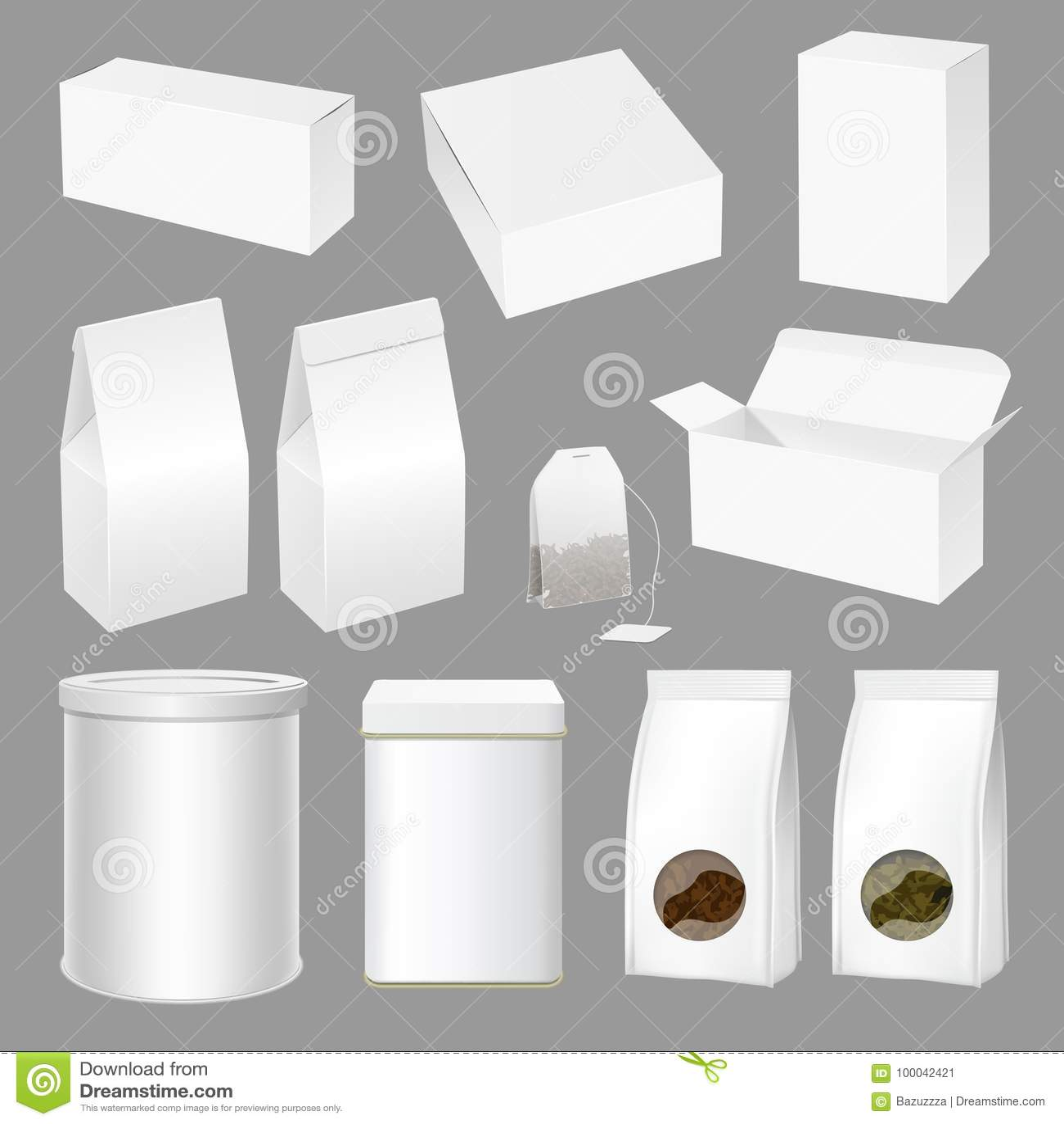 Vector Realistic Creative Tea Packaging Design Set Stock