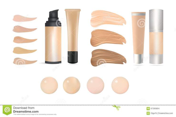 Vector Realistic Make Up Foundation Bottles and Containers with Color Shades Palette. Illustration Of Beauty Product Package, Temp