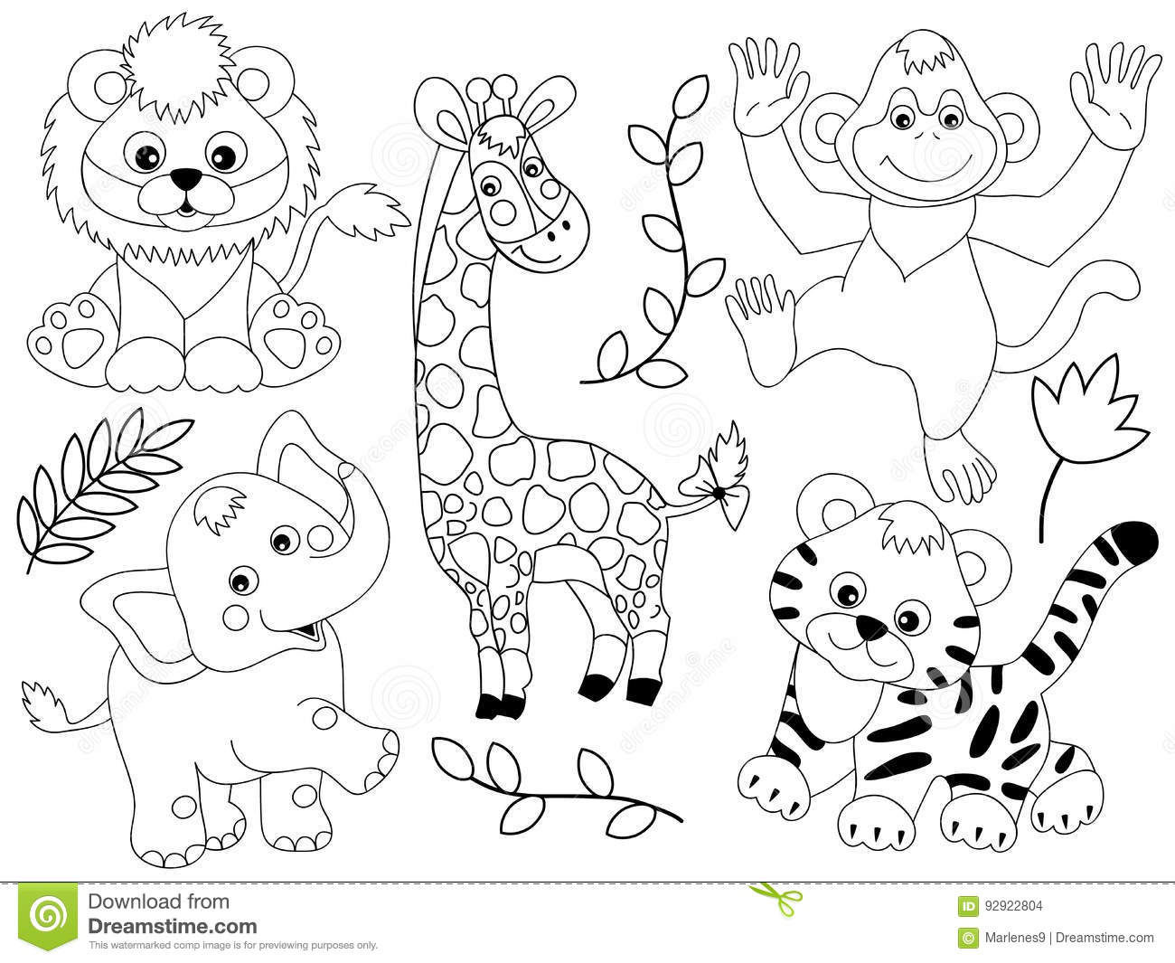Vector Safari Animals Stock Vector Illustration Of Cute