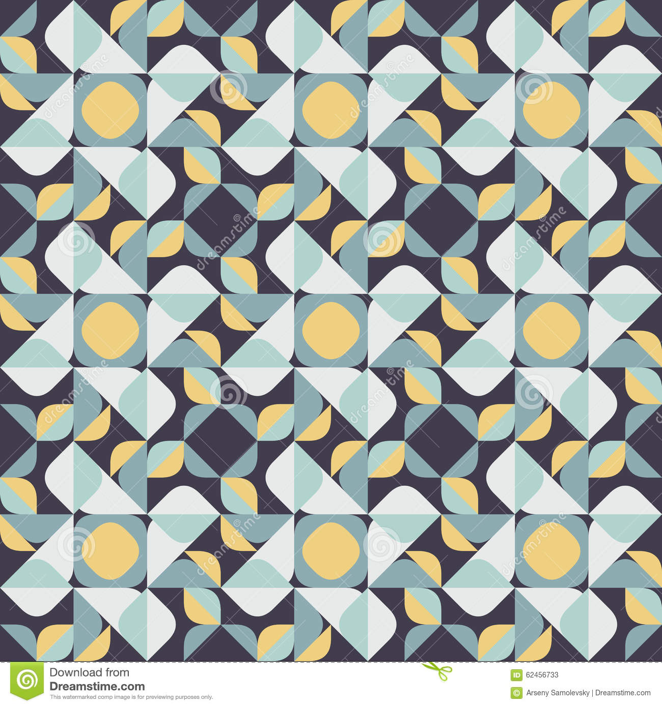 Vector Seamless Geometric Square Triangle Circle Shapes
