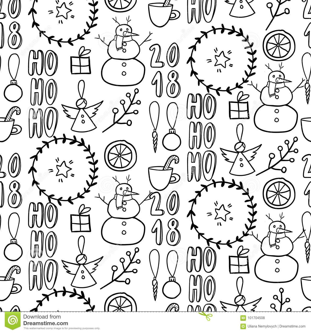 Vector Seamless Pattern Simple Black White Doodle