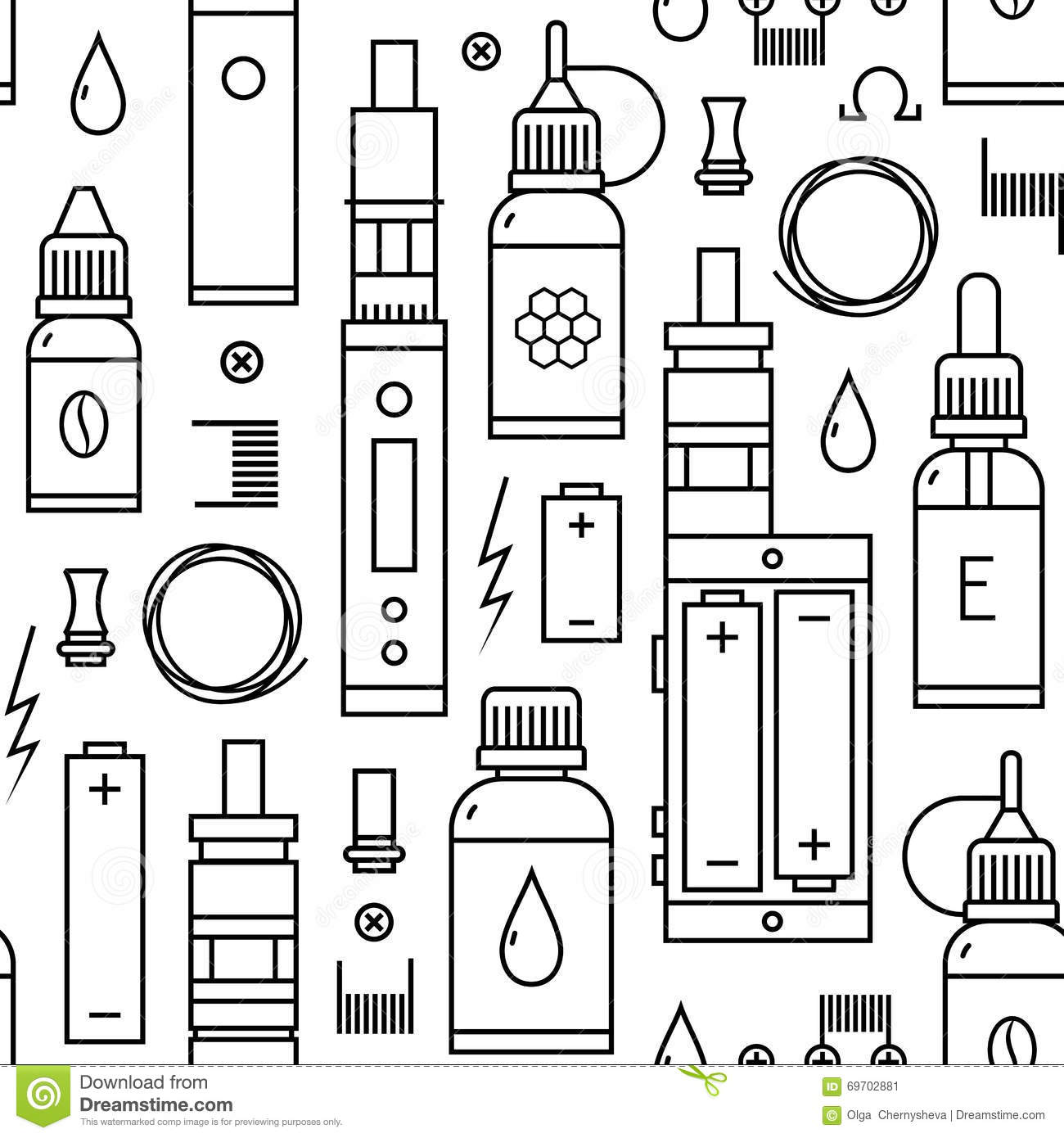 Vector Seamless Pattern Of Vape And Accessories Stock Vector