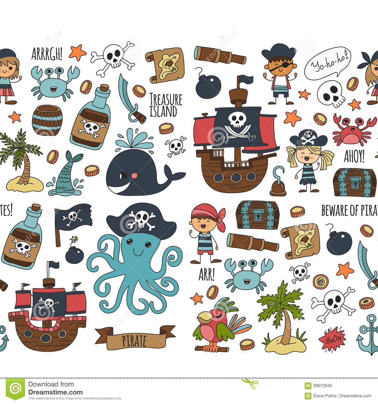 Vector Seamless Pattern Pirate Party For Children