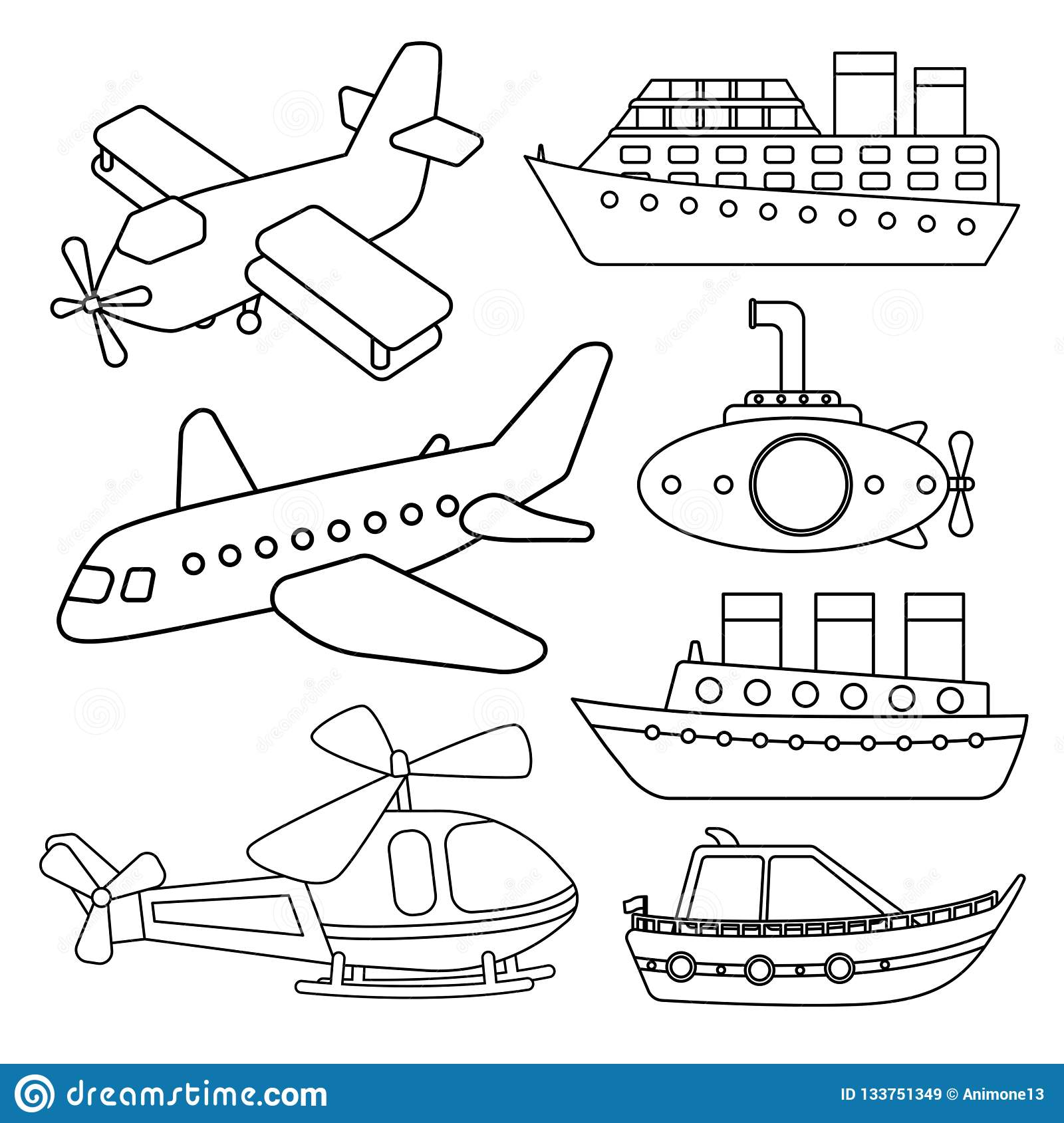 Vector Set Of Air And Water Transport Stock Vector