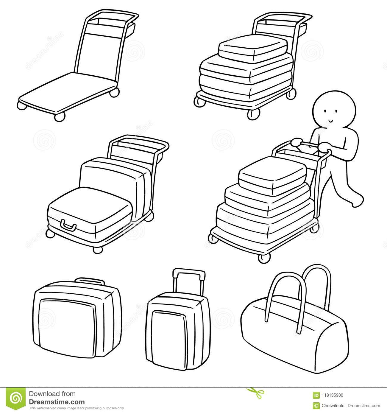 Vector Set Of Airport Luggage Cart Stock Vector