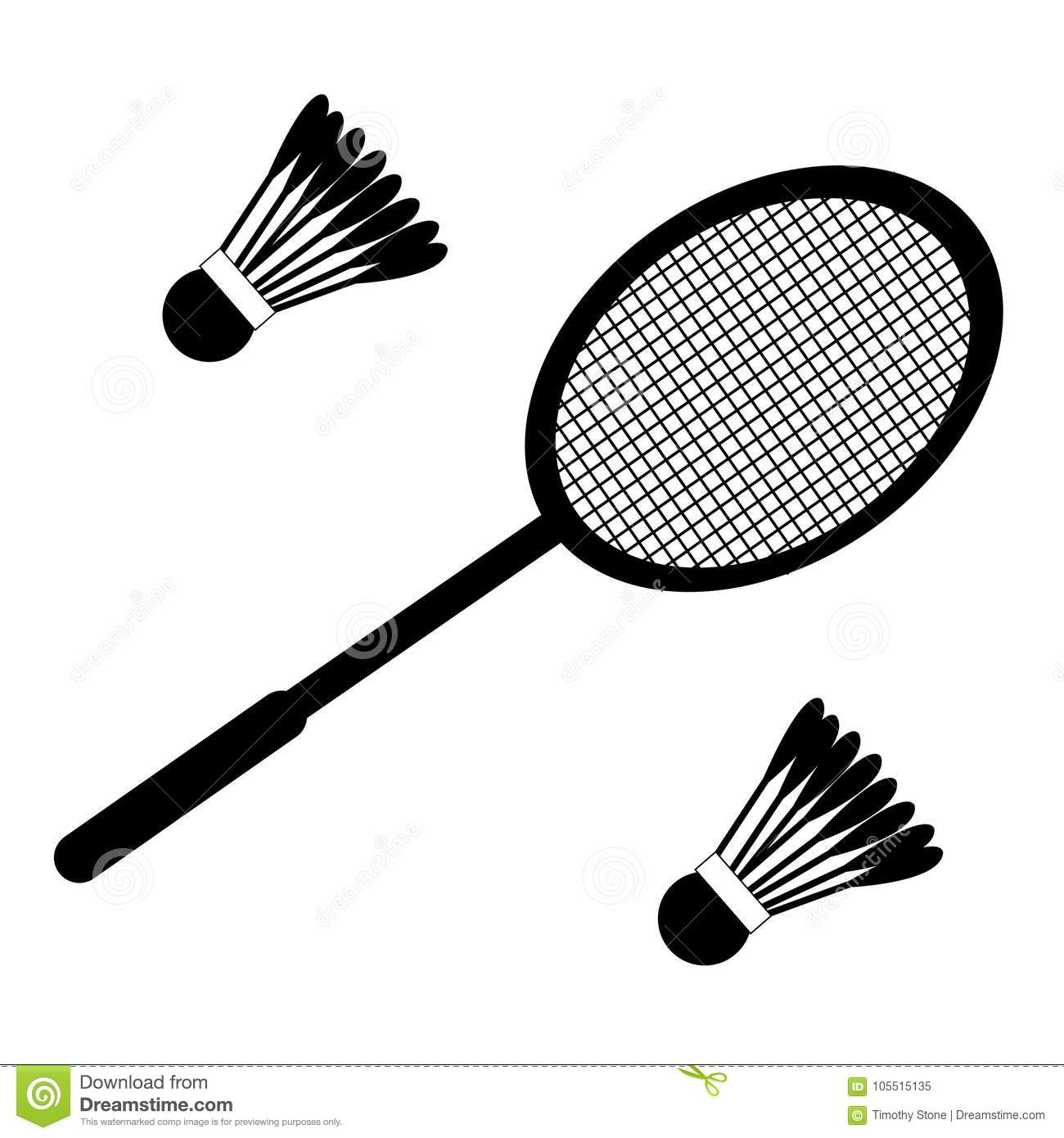 Vector Set Of Badminton Racket And Shuttles Stock Vector
