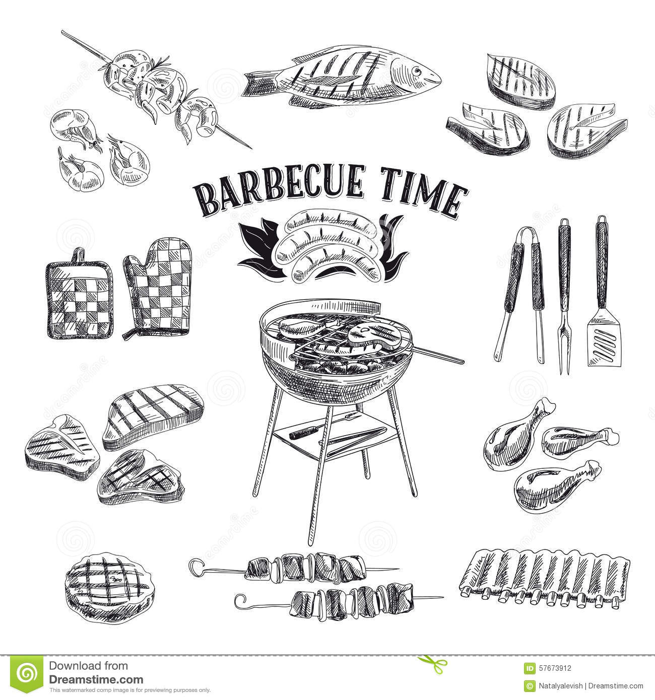 Vector Set Of Barbecue And Grill Elements Vector Stock