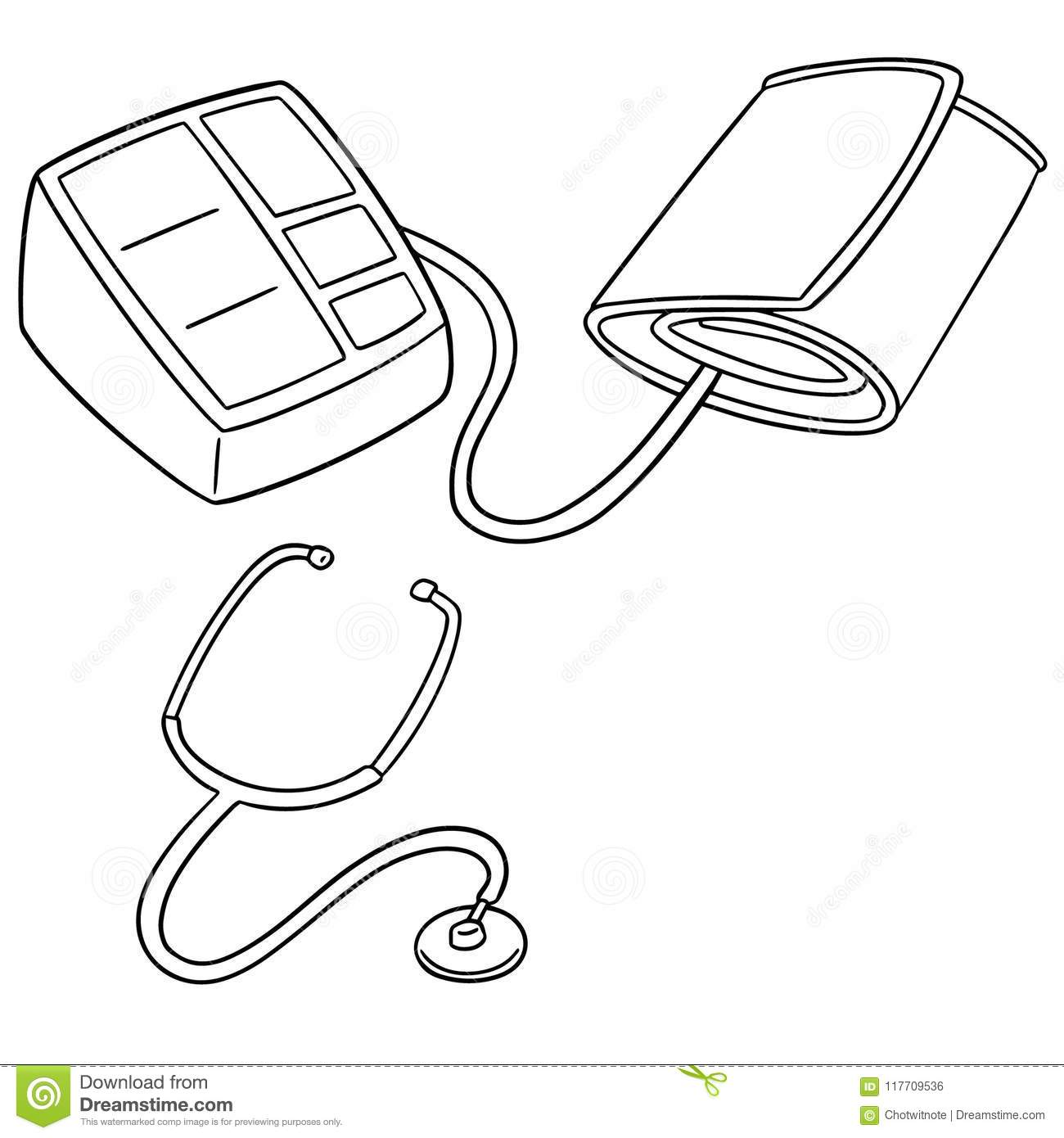 Vector Set Of Blood Pressure Monitor And Stethoscope Stock