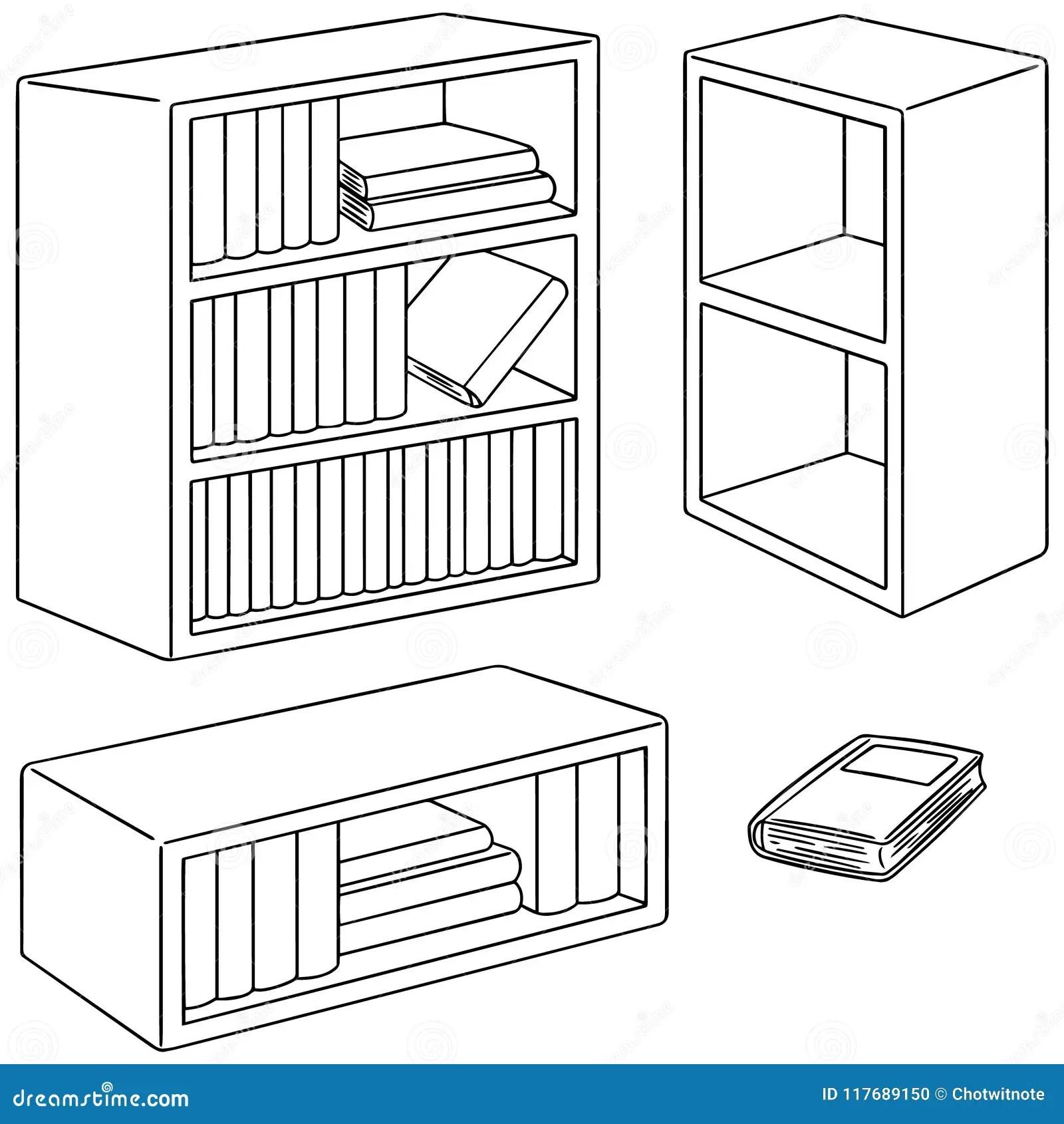 Vector Set Of Bookshelf Stock Vector Illustration Of