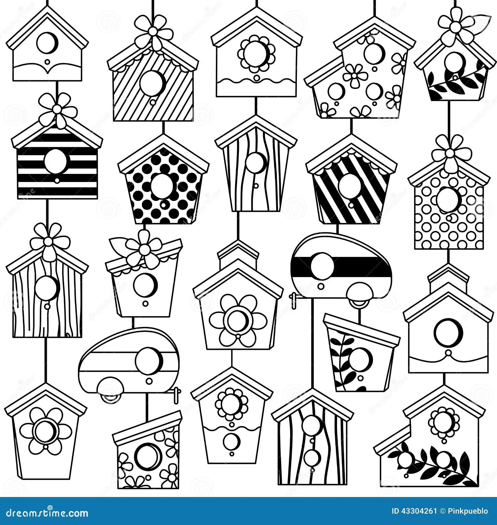 vector set of cute line art birdhouses stock vector image 43304261