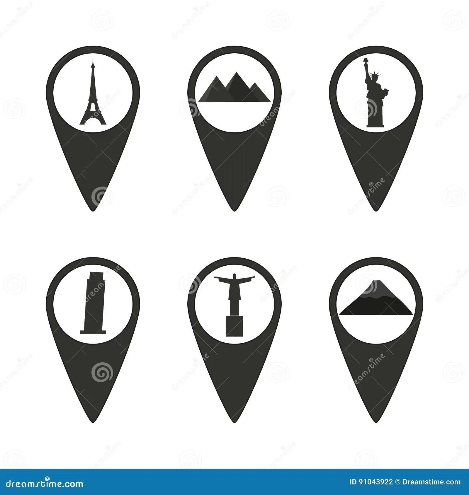 Cursor Locate Destination Icon Silhouette Man Vector