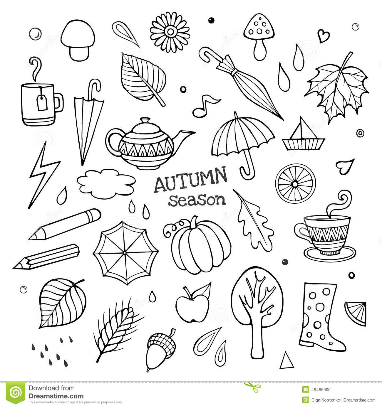 Vector Set Of Different Hand Drawn Autumn Elements Stock
