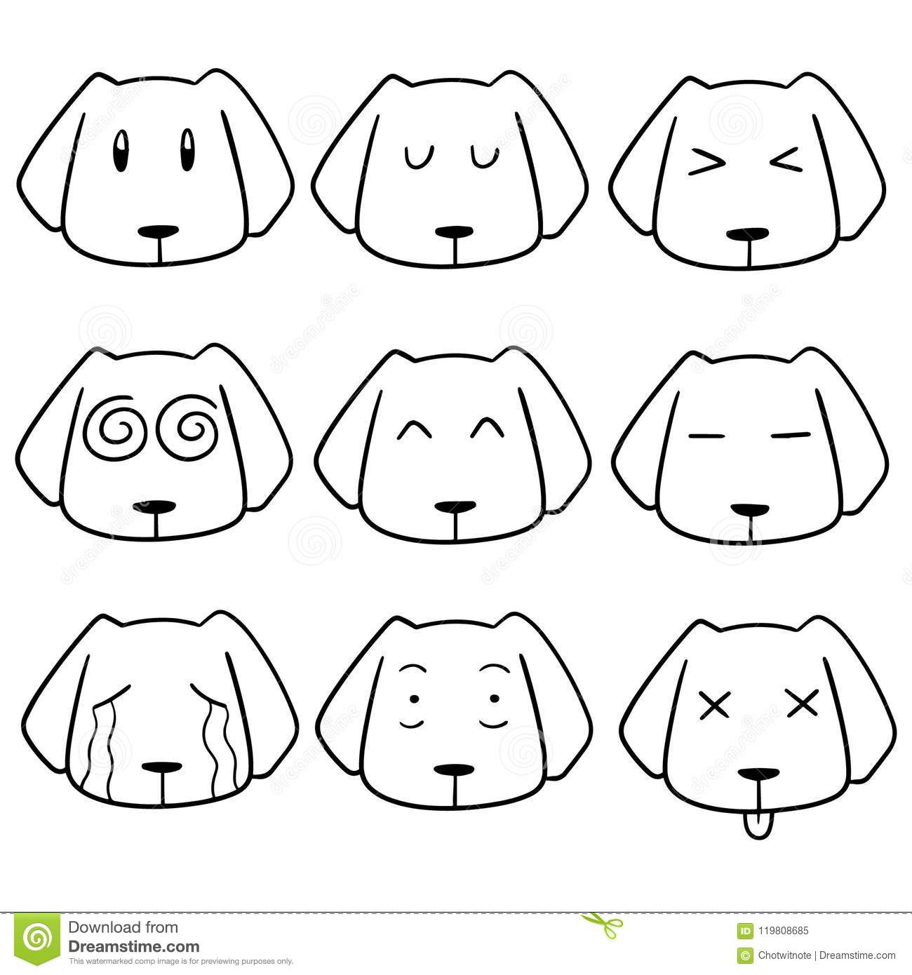 Vector Set Of Dog Face Stock Vector Illustration Of