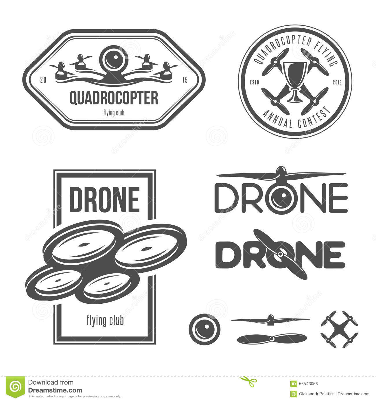 Vector Set Of Drone Flying Club Labels Badges Stock