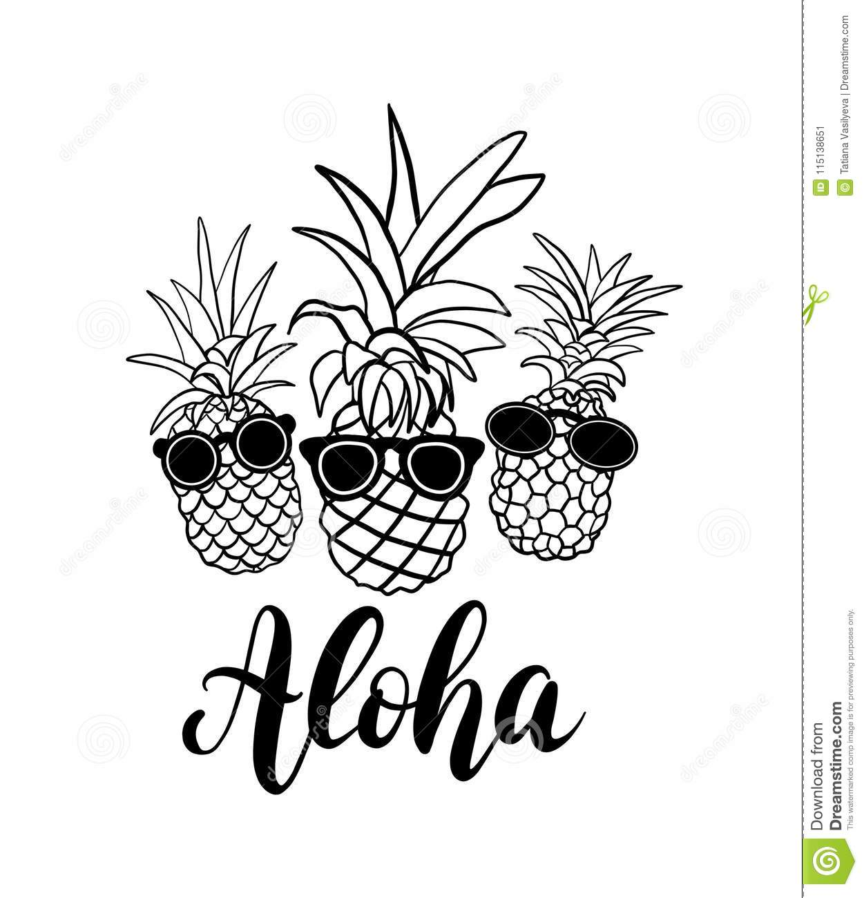 Vector Set Of Five Pineapple Fruit Tropical Summer