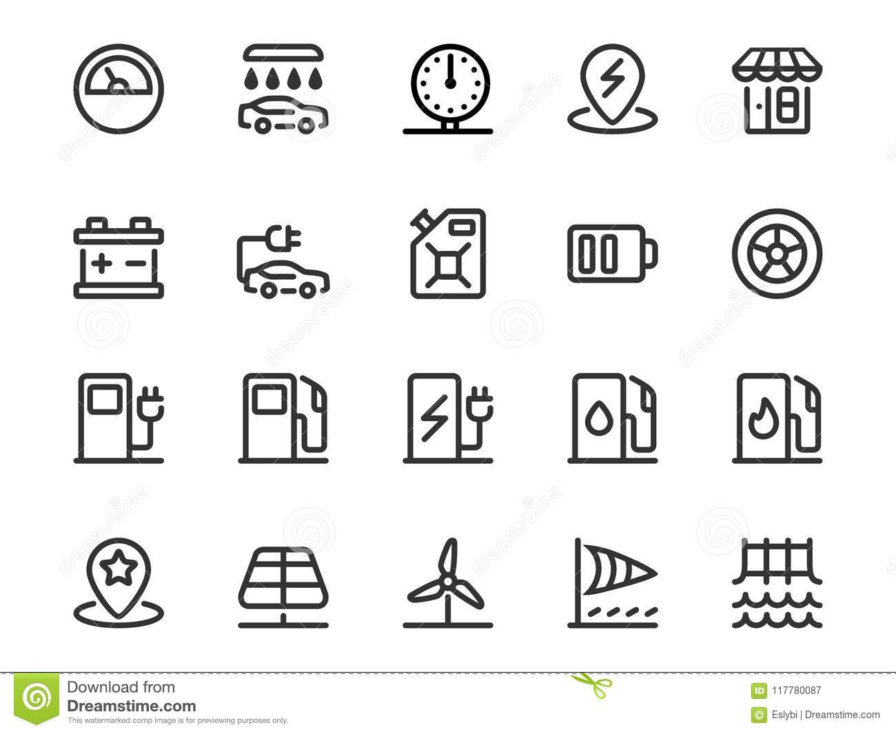 Vector Set Of Gas Station Icons In Outline Style Stock