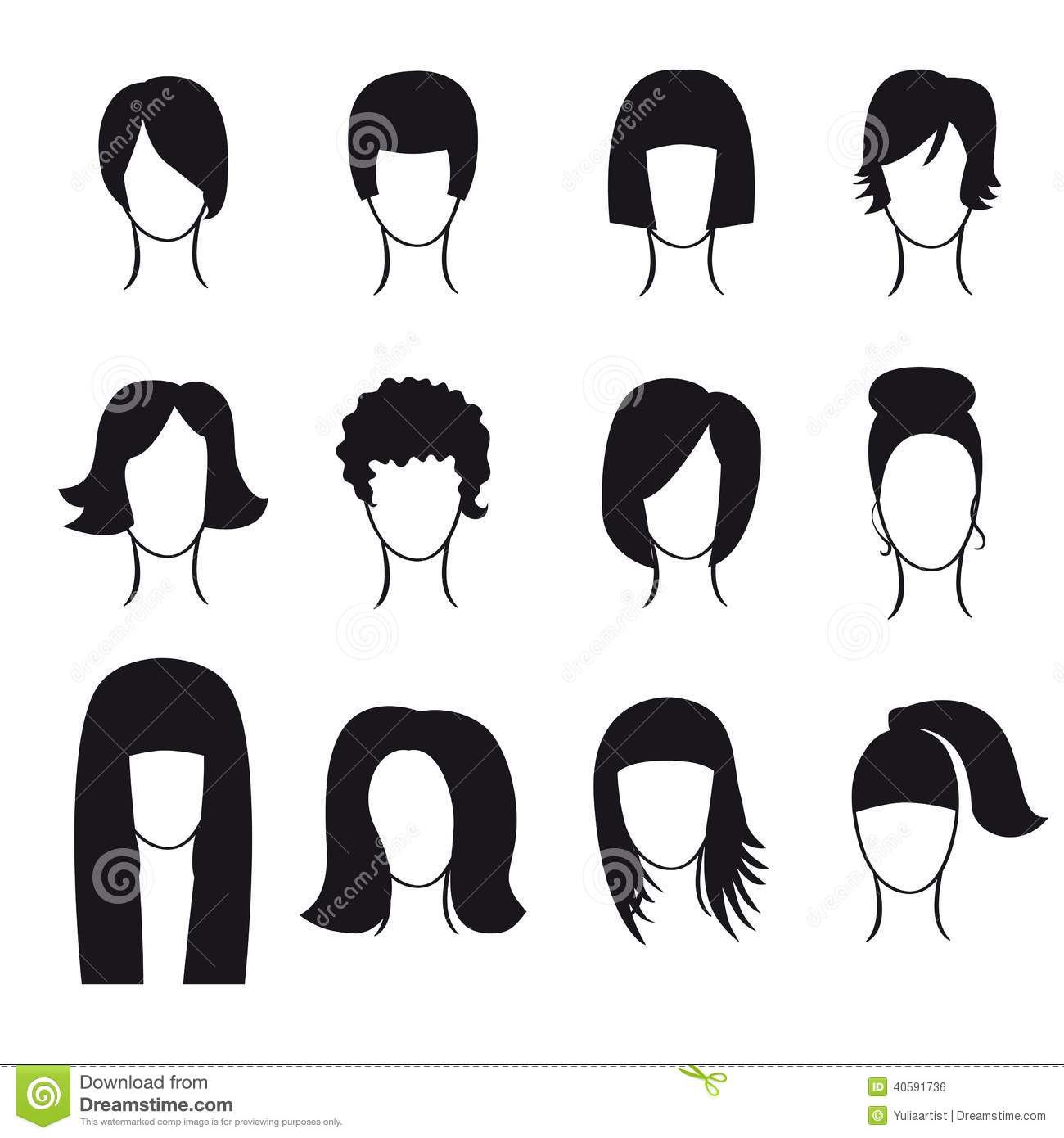 Hair Styling Silhouette Icons Set Cartoon Vector