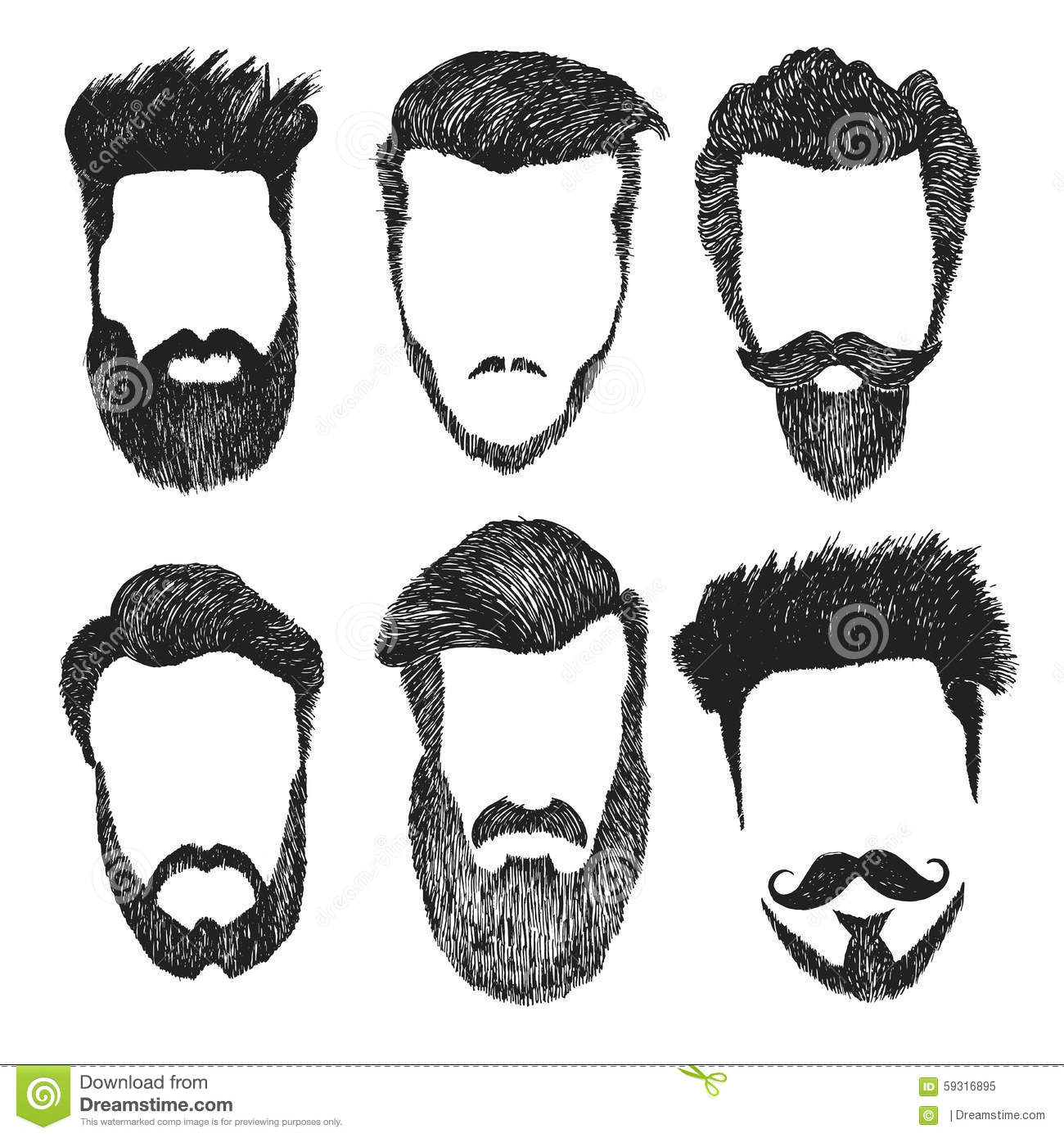Vector Set Of Hipster Style Haircut Beard Mustache Stock