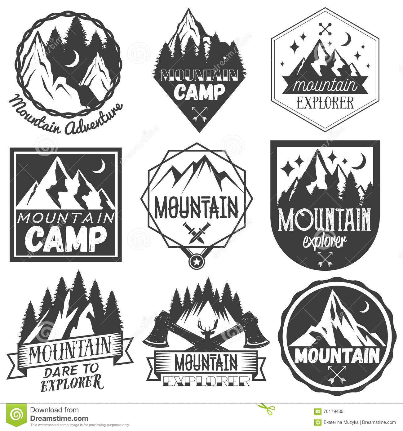 Vector Set Of Mountain Camp Labels In Vintage Style Stock