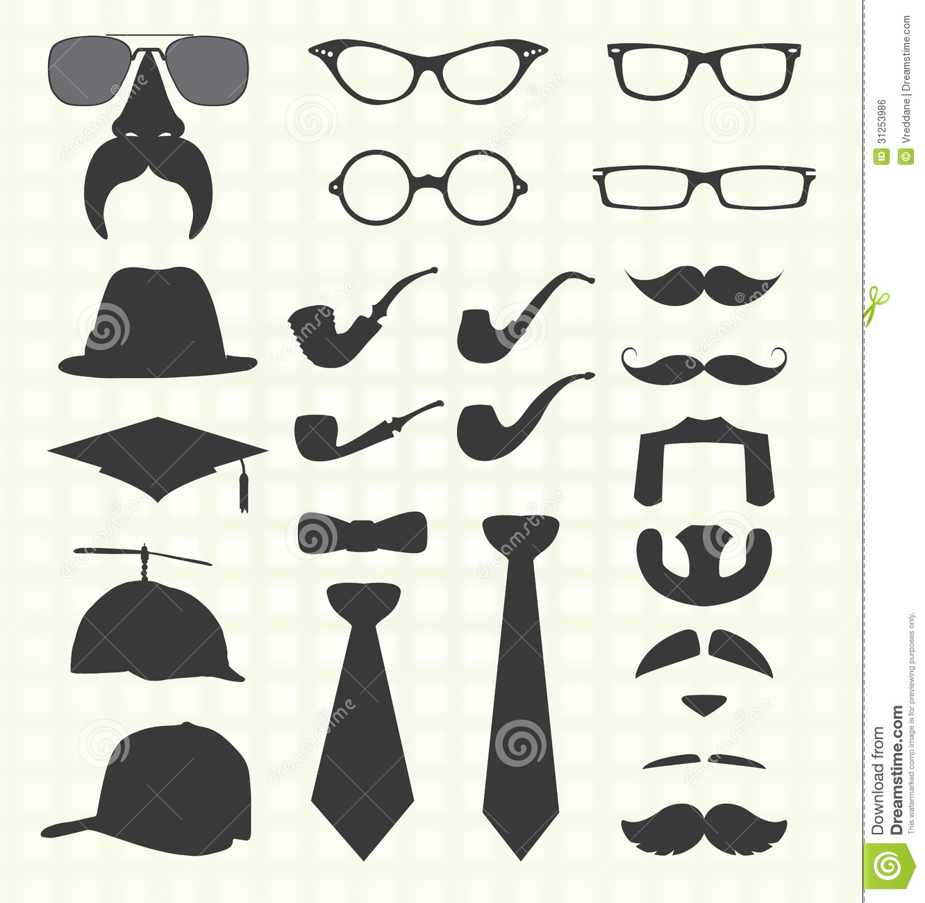 Vector Set Mustache And Other Fashion Stock Vector