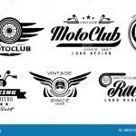 Vector Set Of Original Emblems For Moto Racing Club Vintage Logos With Wheels Helmets And Motorcycle Handlebars Stock Vector Illustration Of Motorcycle Ribbon 138431890