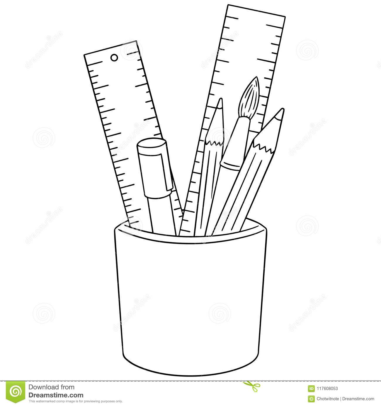 Vector Set Of Pen Pencil Paintbrush And Ruler Stock