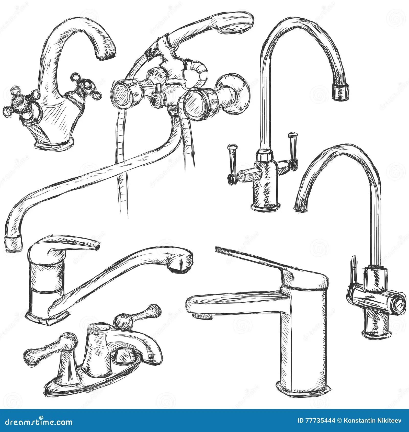 Sketch Of Water Tap Vector Illustration Cartoon Vector