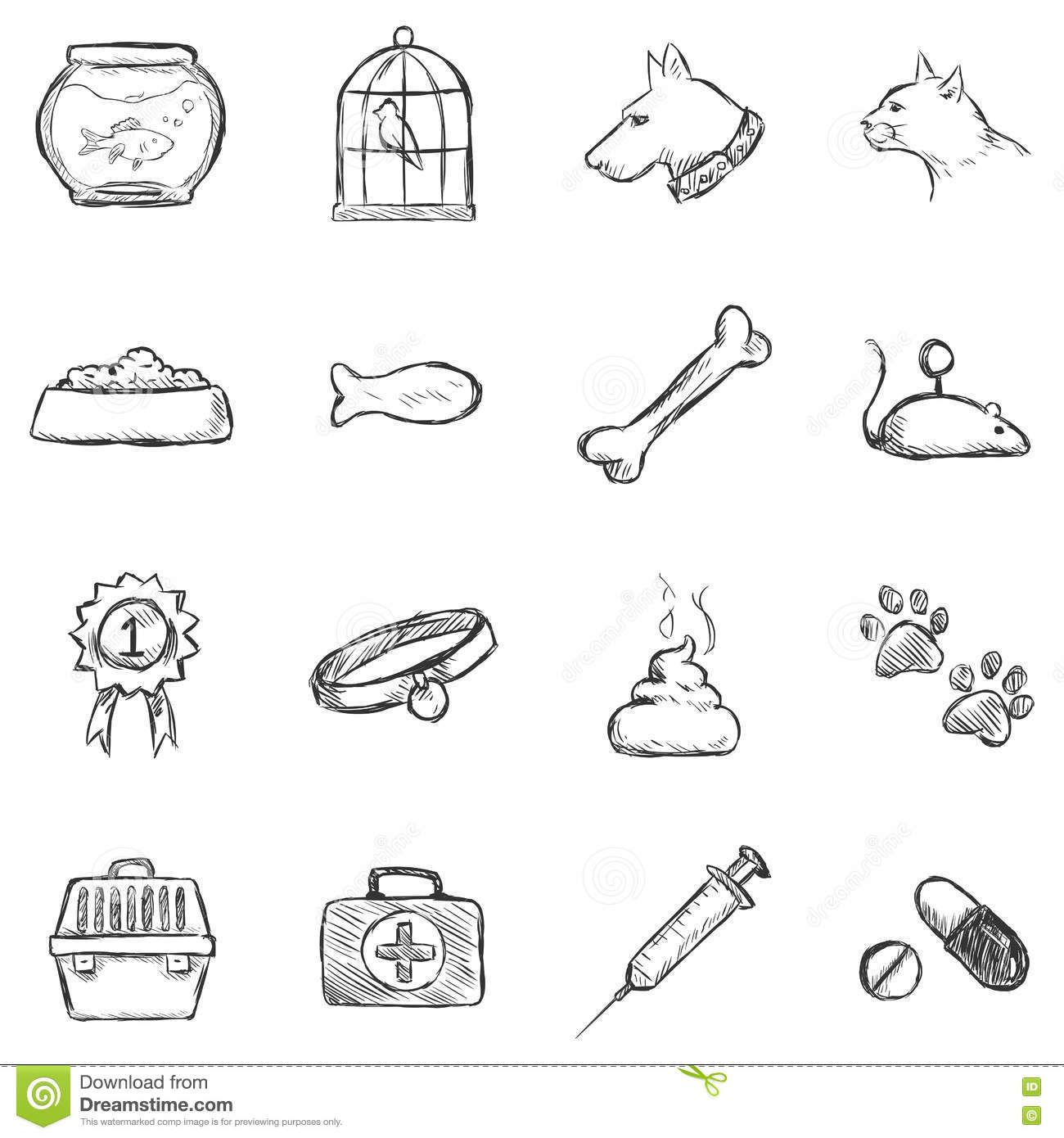 Vector Set Of Sketch Pets Icons Stock Illustration
