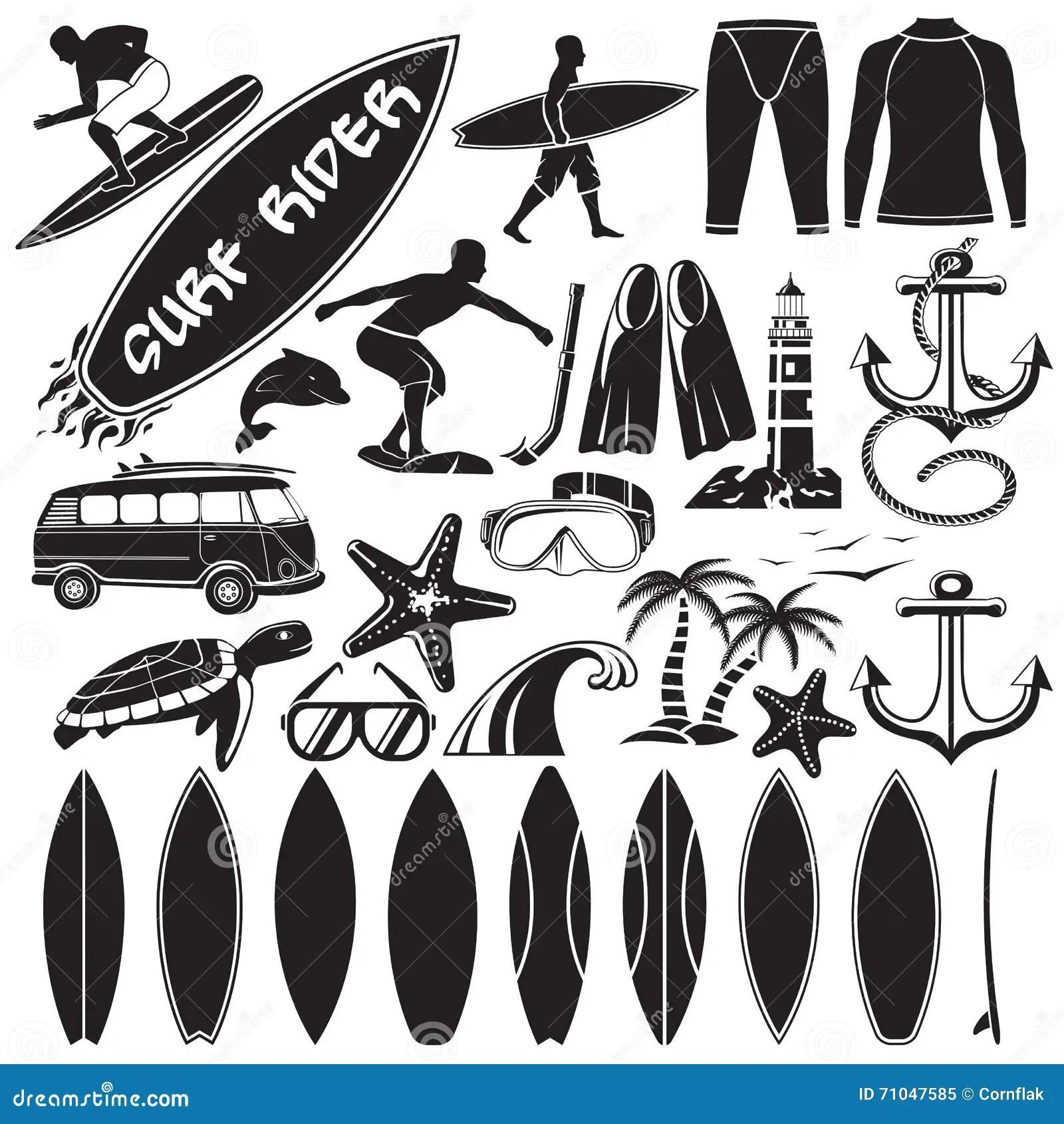 Vector Set Of Surfing Design Elements Stock Illustration
