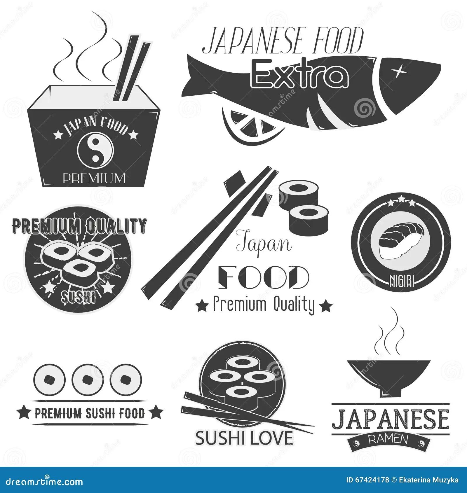Vector Set Of Sushi Labels Japanese Food Restaurant Logo