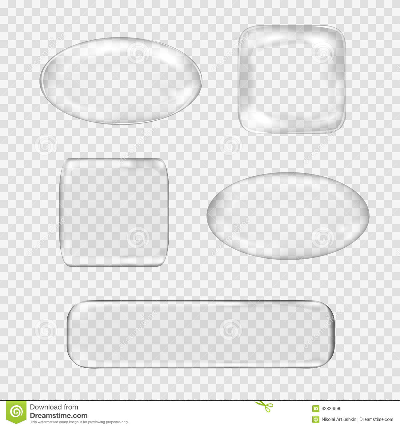 Vector Set Of Transparent Glass Buttons White Stock
