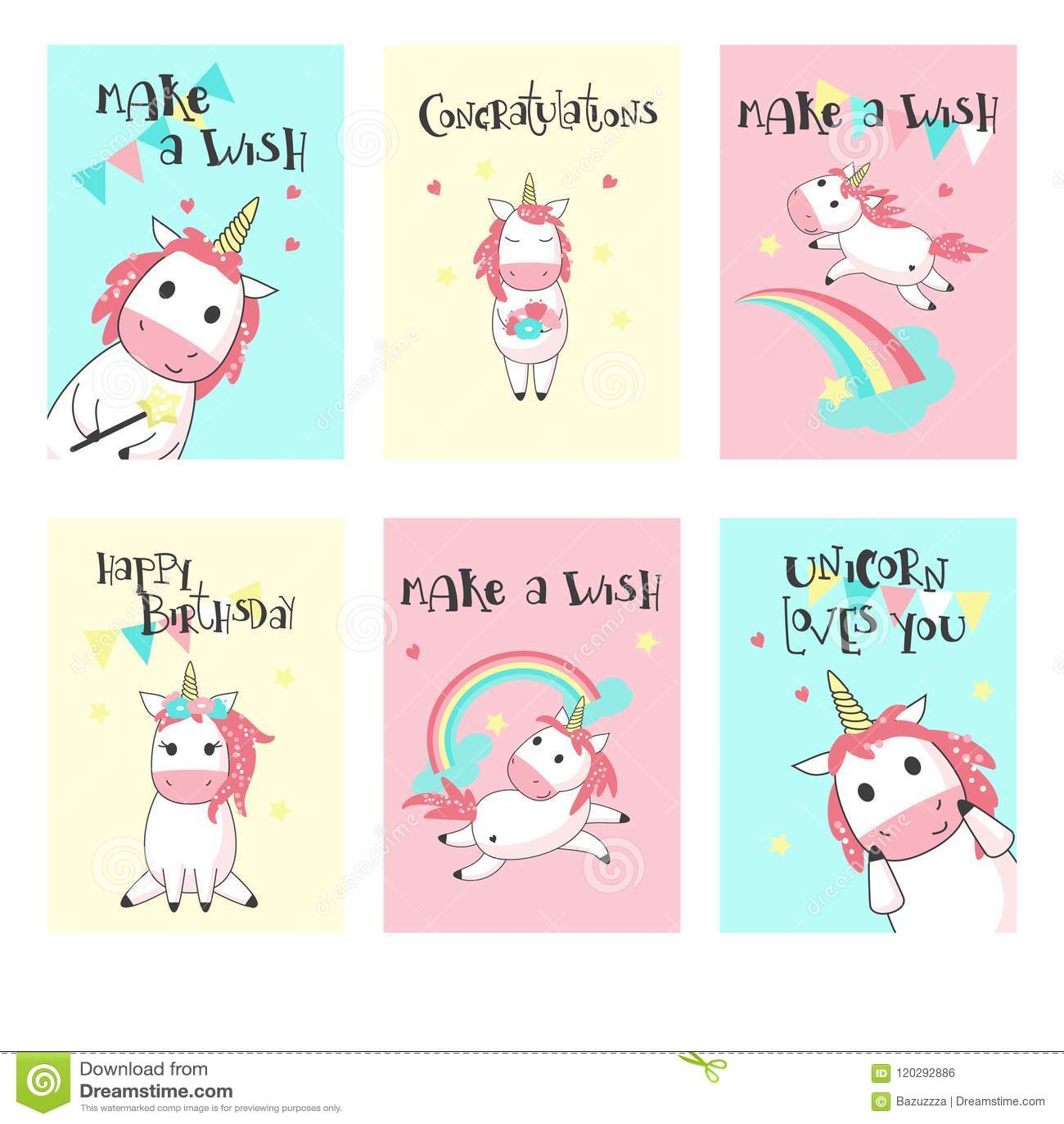 Vector Set Of Unicorn Birthday Greeting Cards Stock Vector Illustration Of Horse Birthday 120292886