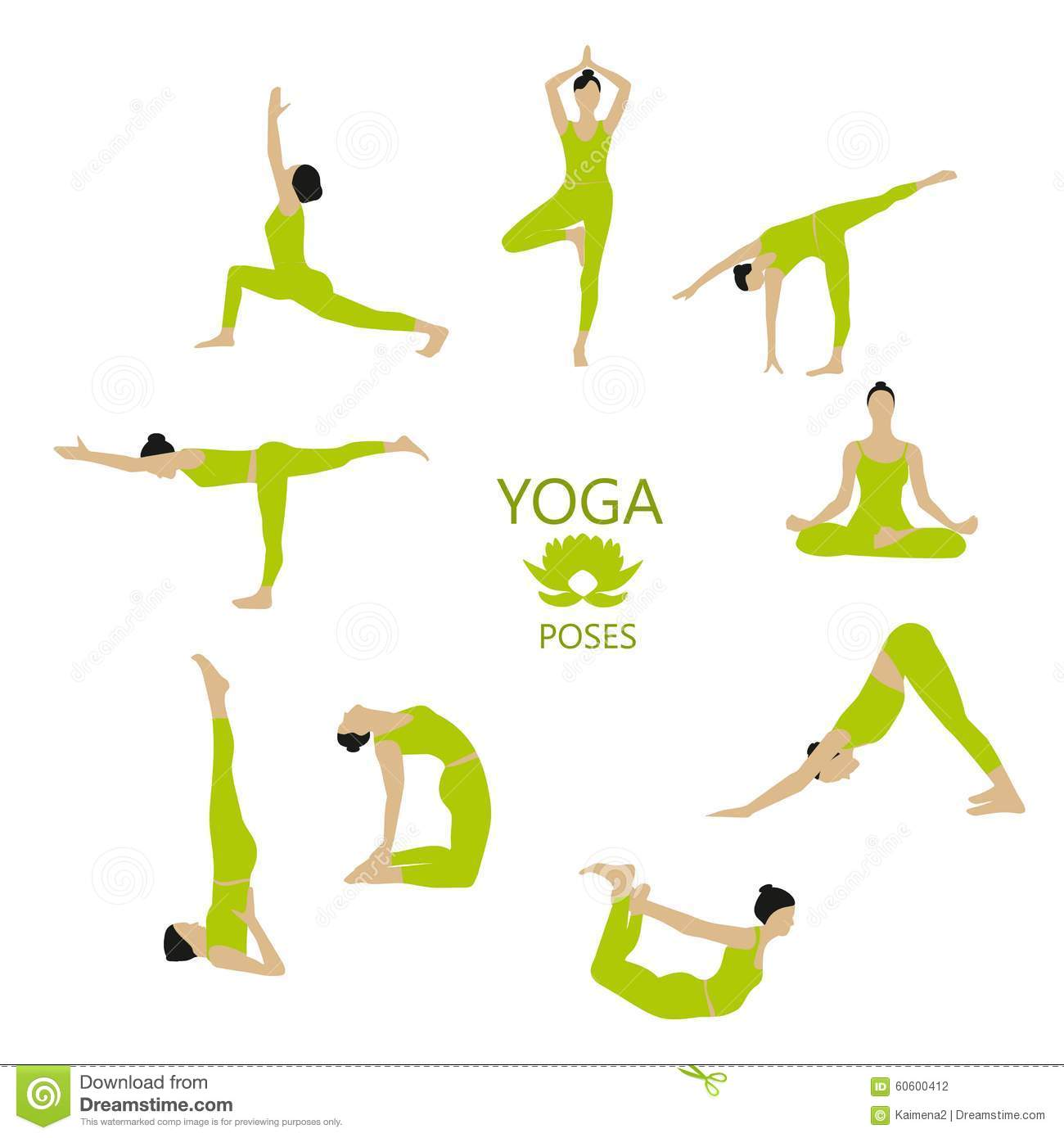 Vector Set Of Yoga Poses Girl Does Yoga Exercises Stock
