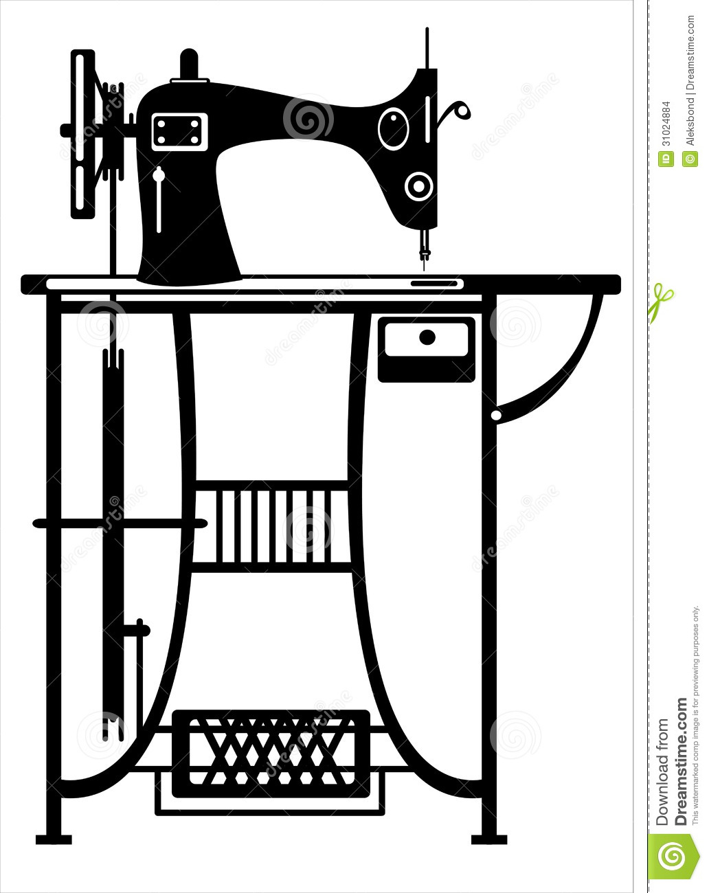 Vector Sewing Machine On White Stock Vector