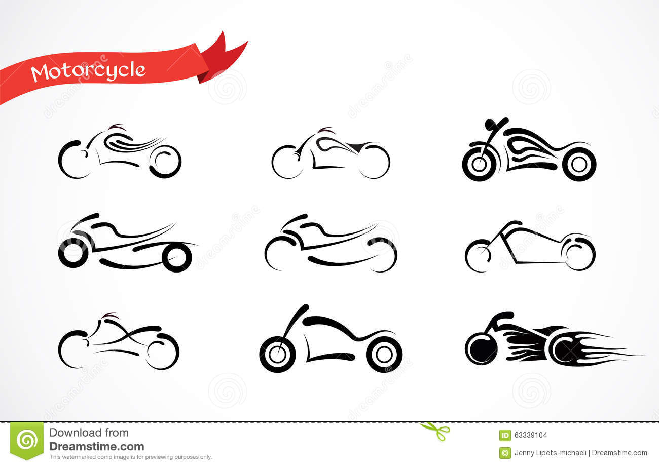 Vector Silhouette Of Classic Motorcycle Stock Vector
