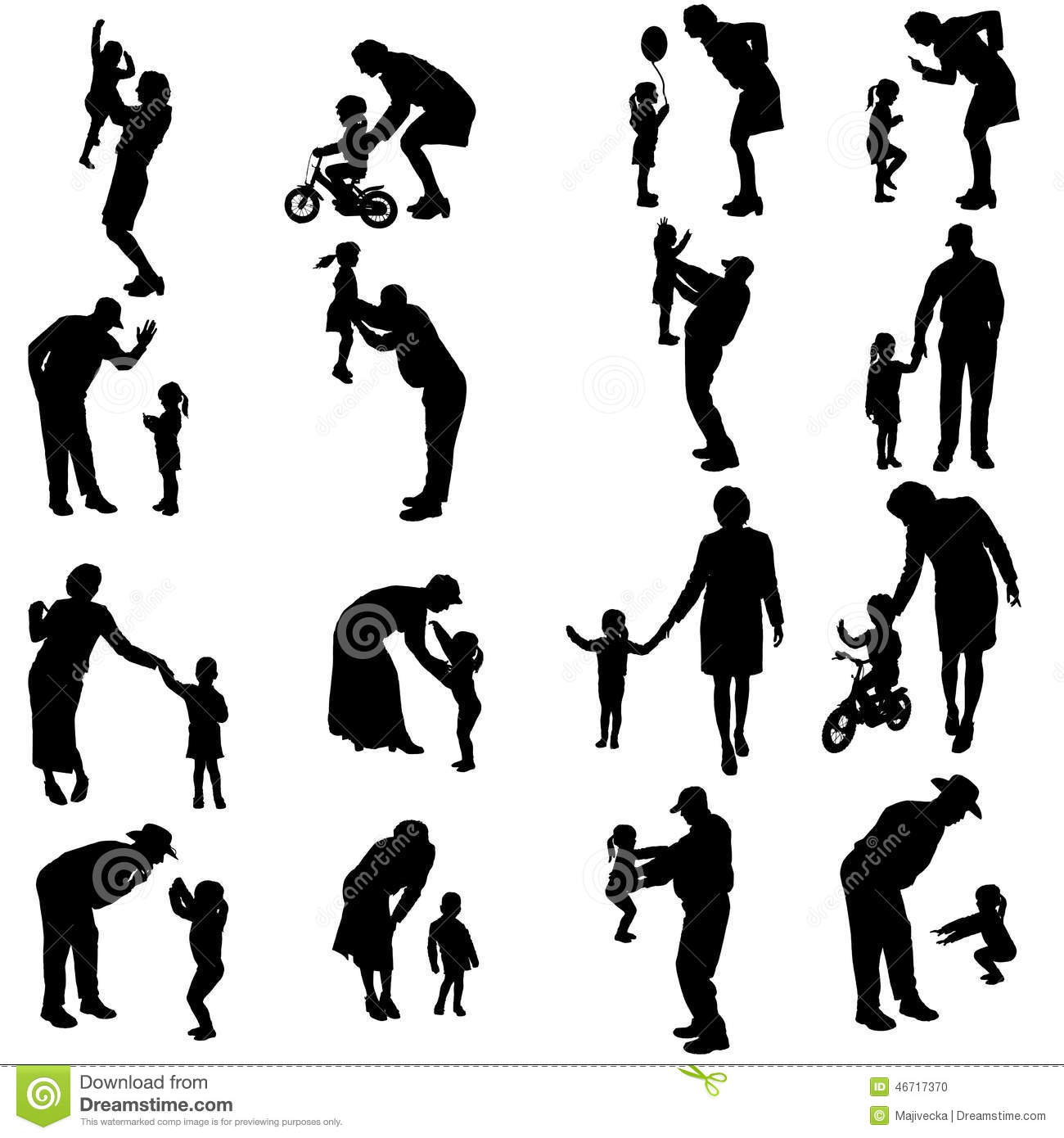 Vector Silhouette Of People With Children Stock Vector